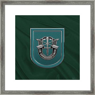 U. S.  Army 19th Special Forces Group - 19 S F G  Beret Flash Over Green Beret Felt Framed Print by Serge Averbukh