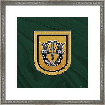 U. S.  Army 1st Special Forces Group - 1  S F G  Beret Flash Over Green Beret Felt Framed Print by Serge Averbukh