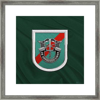U. S.  Army 20th Special Forces Group - 20 S F G  Beret Flash Over Green Beret Felt Framed Print by Serge Averbukh