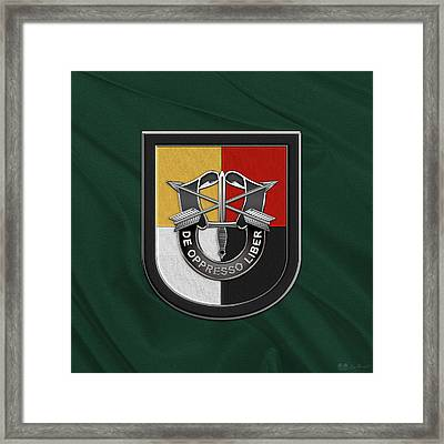 U. S.  Army 3rd Special Forces Group - 3  S F G  Beret Flash Over Green Beret Felt Framed Print by Serge Averbukh