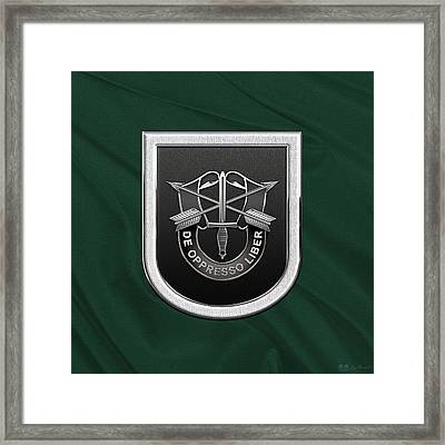 U. S.  Army 5th Special Forces Group - 5 S F G  Beret Flash Over Green Beret Felt Framed Print by Serge Averbukh