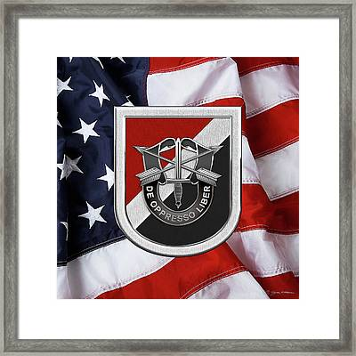 U. S.  Army 6th Special Forces Group - 6th S F G  Beret Flash Over American Flag Framed Print by Serge Averbukh