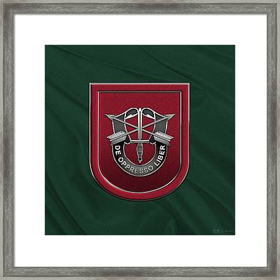 U. S.  Army 7th Special Forces Group - 7 S F G  Beret Flash Over Green Beret Felt Framed Print by Serge Averbukh