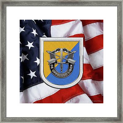 U. S.  Army 8th Special Forces Group - 8 S F G  Beret Flash Over American Flag Framed Print by Serge Averbukh