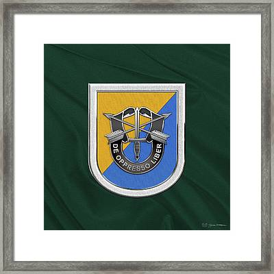 U. S.  Army 8th Special Forces Group - 8 S F G  Beret Flash Over Green Beret Felt Framed Print by Serge Averbukh