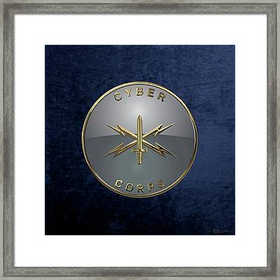 U. S.  Army Cyber Corps - Branch Insignia Blue Velvet Framed Print by Serge Averbukh