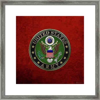 U. S.  Army Emblem Over Red Velvet Framed Print by Serge Averbukh