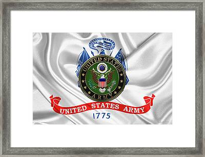 U. S.  Army Emblem Over United States Army Flag Framed Print by Serge Averbukh