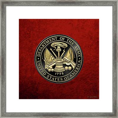 U. S. Army Seal Black Edition Over Red Velvet Framed Print by Serge Averbukh