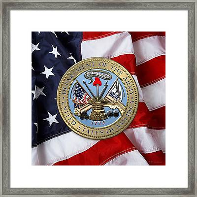U. S. Army Seal Over American Flag. Framed Print by Serge Averbukh