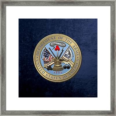 U. S. Army Seal Over Blue Velvet Framed Print by Serge Averbukh