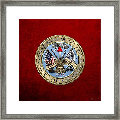 U. S. Army Seal Over Red Velvet Framed Print by Serge Averbukh