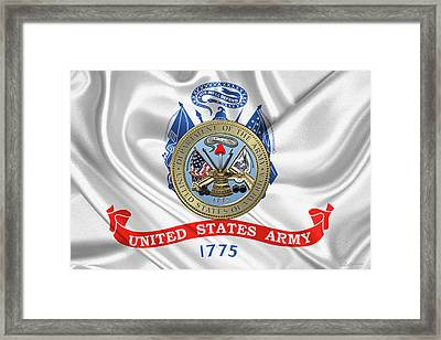 U. S.  Army Seal Over United States Army Flag Framed Print by Serge Averbukh