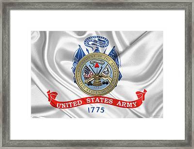 U. S.  Army Seal Over United States Army Flag Framed Print by Serge Averbukh