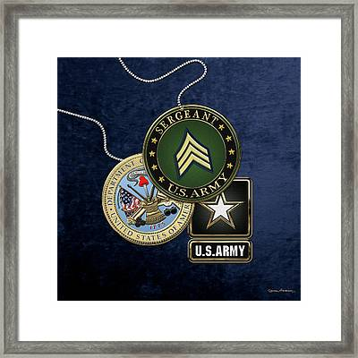 U. S. Army Sergeant  -  S G T  Rank Insignia With Army Seal And Logo Over Blue Velvet Framed Print by Serge Averbukh