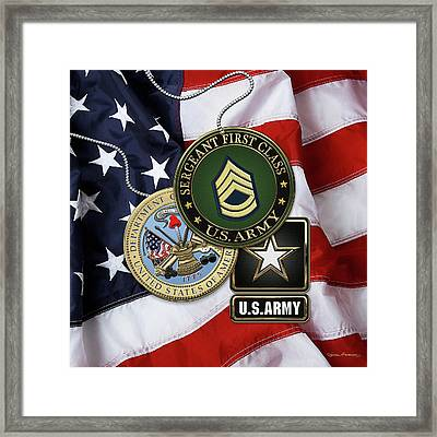 U. S. Army Sergeant First Class   -  S F C  Rank Insignia With Army Seal And Logo Over American Flag Framed Print