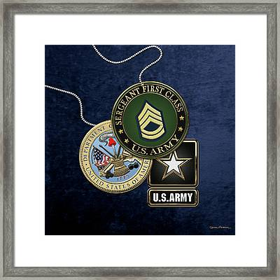 U. S. Army Sergeant First Class   -  S F C  Rank Insignia With Army Seal And Logo Over Blue Velvet Framed Print