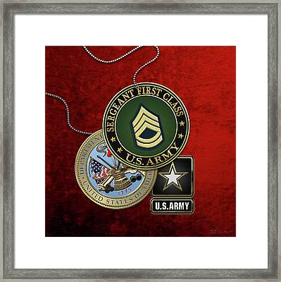 U. S. Army Sergeant First Class   -  S F C  Rank Insignia With Army Seal And Logo Over Red Velvet Framed Print