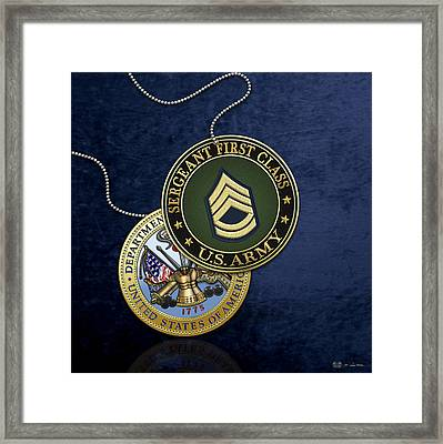 U. S. Army Sergeant First Class Rank Insignia And Army Seal Over Blue Velvet Framed Print