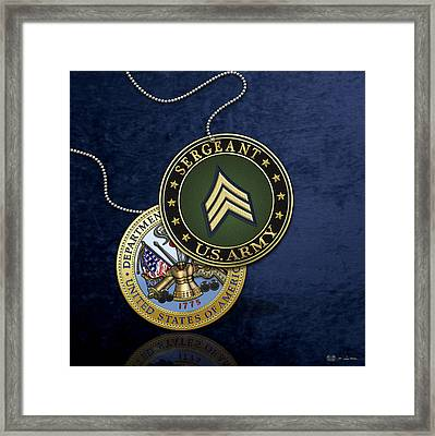 U. S. Army Sergeant - S G T Rank Insignia And Army Seal Over Blue Velvet Framed Print by Serge Averbukh
