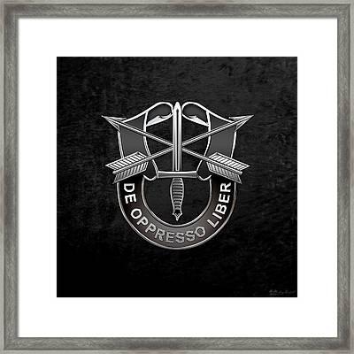 U. S.  Army Special Forces  -  Green Berets D U I Over Black Velvet Framed Print by Serge Averbukh