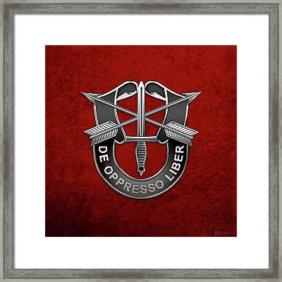 U. S.  Army Special Forces  -  Green Berets D U I Over Red Velvet Framed Print by Serge Averbukh