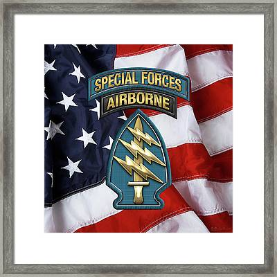 U. S.  Army Special Forces  -  Green Berets S S I Over American Flag Framed Print by Serge Averbukh
