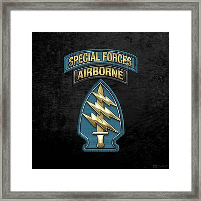 U. S.  Army Special Forces  -  Green Berets S S I Over Black Velvet Framed Print by Serge Averbukh