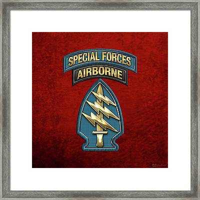 U. S.  Army Special Forces  -  Green Berets S S I Over Red Velvet Framed Print by Serge Averbukh