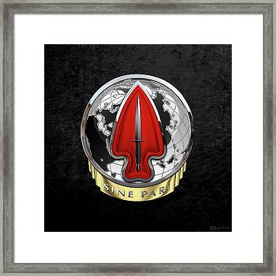 U. S.  Army Special Operations Command  -  U S A S O C    D U I Over Black Velvet Framed Print by Serge Averbukh