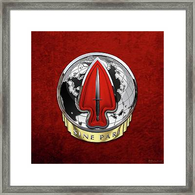 U. S.  Army Special Operations Command  -  U S A S O C    D U I Over Red Velvet Framed Print by Serge Averbukh