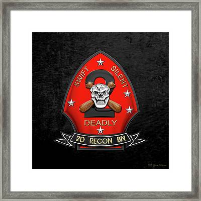 U S M C  2nd Reconnaissance Battalion -  2nd Recon Bn Insignia Over Black Velvet Framed Print