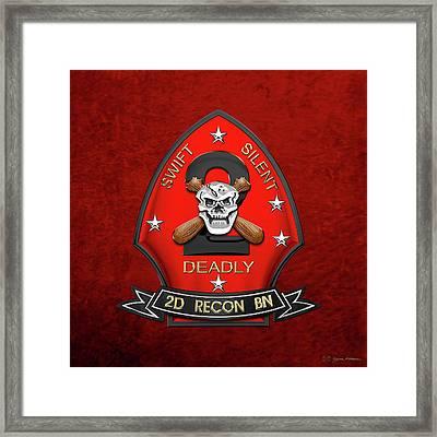 U S M C  2nd Reconnaissance Battalion -  2nd Recon Bn Insignia Over Red Velvet Framed Print