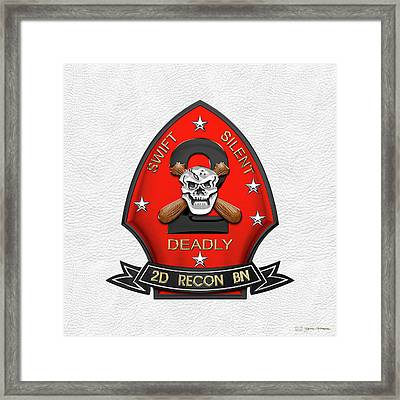 U S M C  2nd Reconnaissance Battalion -  2nd Recon Bn Insignia Over White Leather Framed Print