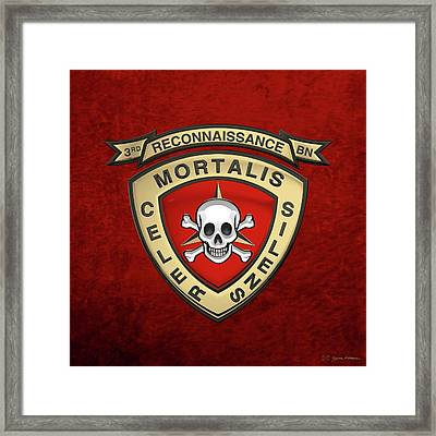 U S M C  3rd Reconnaissance Battalion -  3rd Recon Bn Insignia Over Red Velvet Framed Print