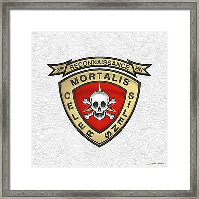 U S M C  3rd Reconnaissance Battalion -  3rd Recon Bn Insignia Over White Leather Framed Print