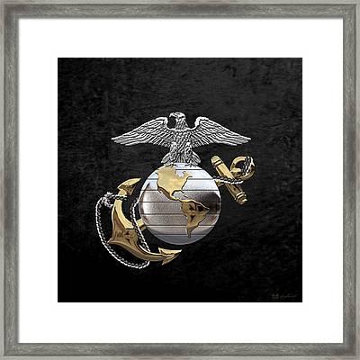 U S M C Eagle Globe And Anchor - C O And Warrant Officer E G A Over Black Velvet Framed Print by Serge Averbukh