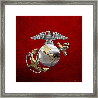 U S M C Eagle Globe And Anchor - C O And Warrant Officer E G A Over Red Velvet Framed Print by Serge Averbukh