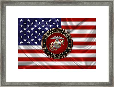 U. S.  Marine Corps - C O And Warrant Officer E G A Special Edition Over U. S.  Flag Framed Print by Serge Averbukh