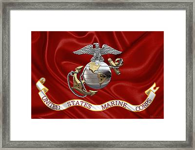 U. S.  Marine Corps - C O And Warrant Officer Eagle Globe And Anchor Over Corps Flag Framed Print by Serge Averbukh