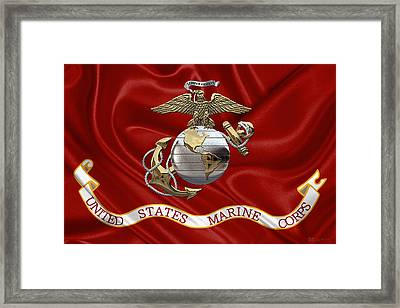 U. S.  Marine Corps - U S M C Eagle Globe And Anchor Over Corps Flag Framed Print