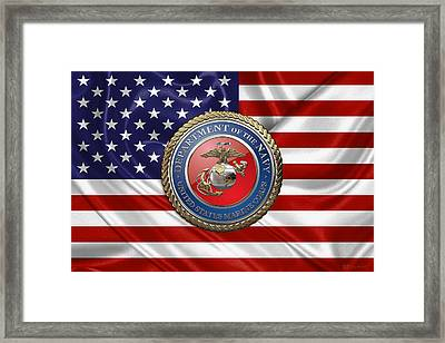U. S.  Marine Corps - U S M C Seal Over  U. S.  Flag Framed Print by Serge Averbukh