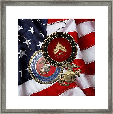 U. S.  Marines Corporal Rank Insignia Over  U. S.  Flag Framed Print