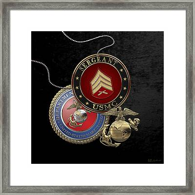 U. S. Marines Sergeant -  U S M C  Sgt Rank Insignia Over Black Velvet Framed Print by Serge Averbukh