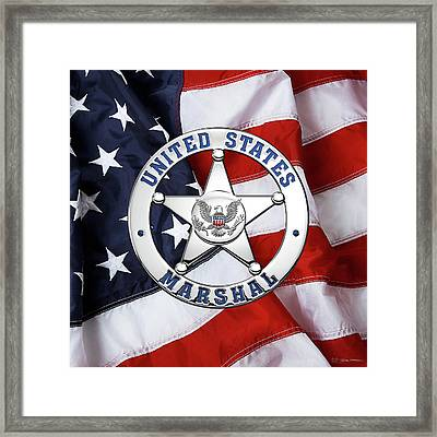 U. S. Marshals Service  -  U S M S  Badge Over American Flag Framed Print by Serge Averbukh