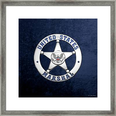 U. S. Marshals Service  -  U S M S  Badge Over Blue Velvet Framed Print by Serge Averbukh