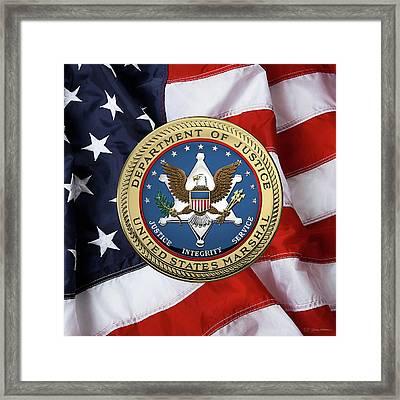U. S.  Marshals Service -  U S M S  Seal Over American Flag Framed Print by Serge Averbukh