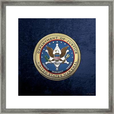 U. S.  Marshals Service -  U S M S  Seal Over Blue Velvet Framed Print by Serge Averbukh