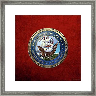 U. S.  Navy  -  U S N Emblem Over Red Velvet Framed Print