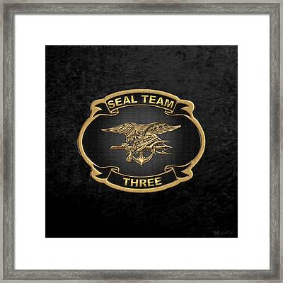 U. S. Navy S E A Ls - S E A L Team 3  -  S T 3  Patch Over Black Velvet Framed Print by Serge Averbukh